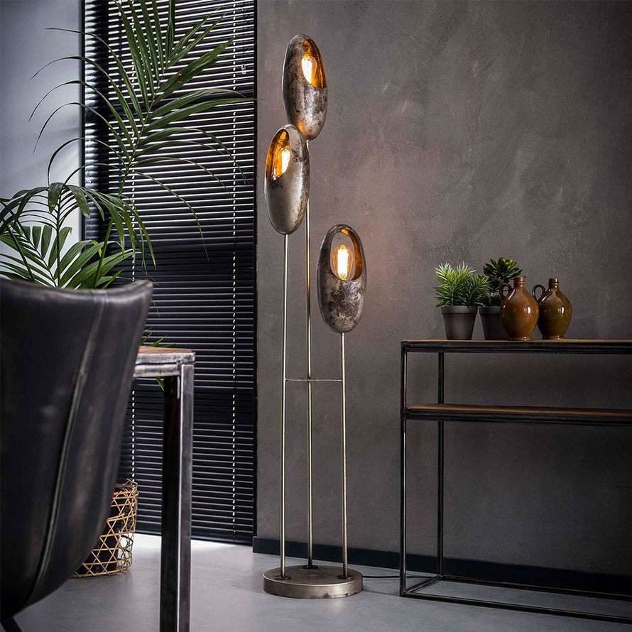 Industriële vloerlamp Esther 3-lichts oud zilver