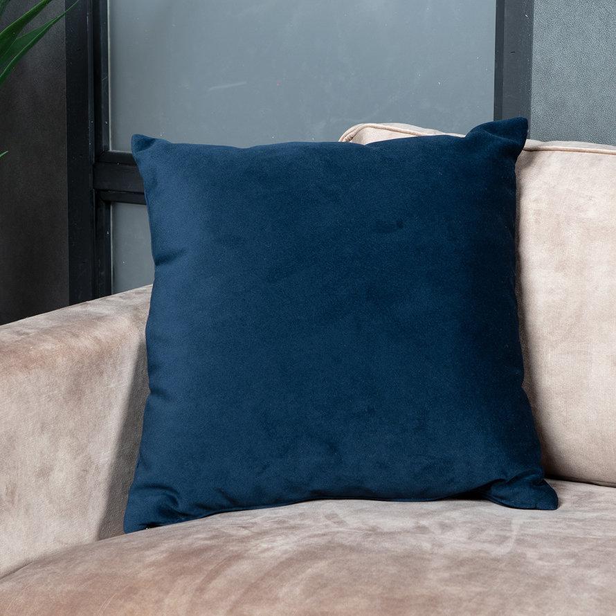 Sierkussen Anna velvet donkerblauw 45 x 45 cm