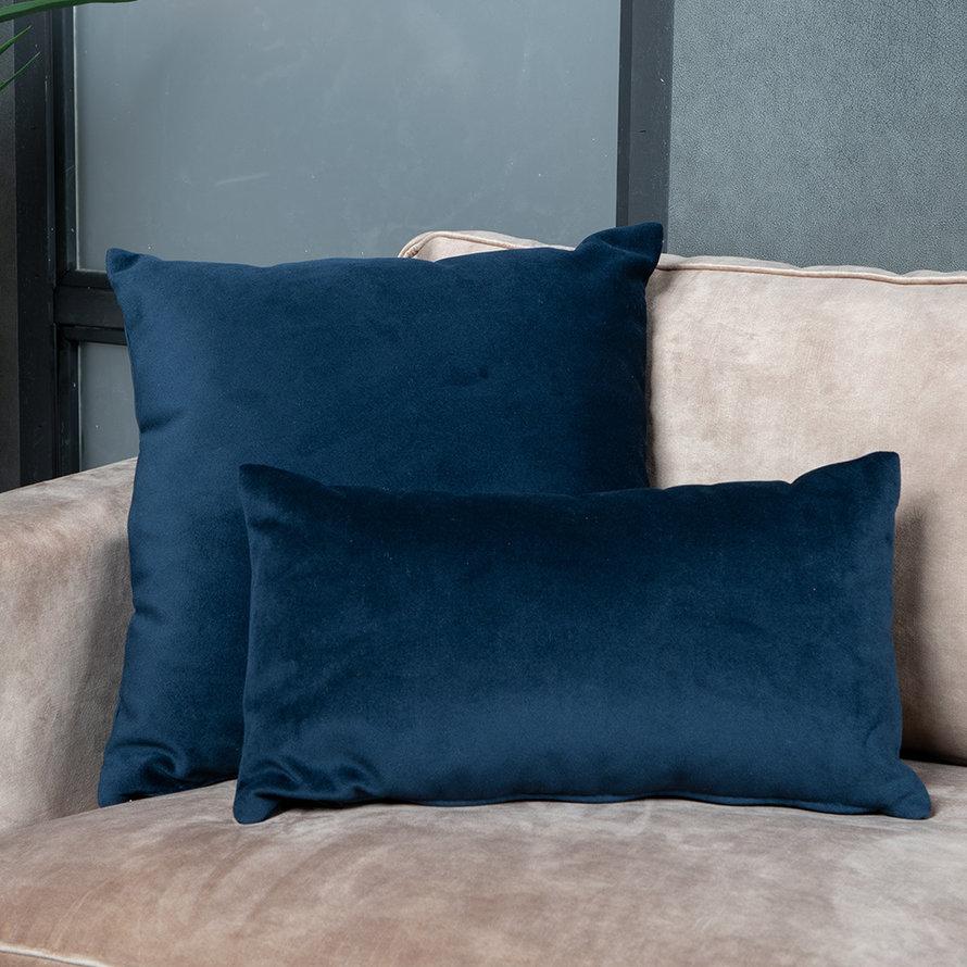 Sierkussen Anna velvet donkerblauw 25 x 45 cm