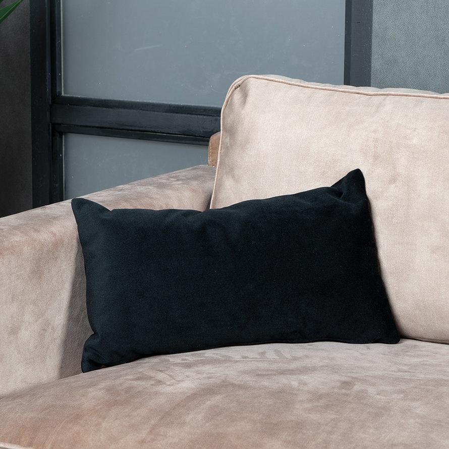 Sierkussen Anna velvet zwart 25 x 45 cm