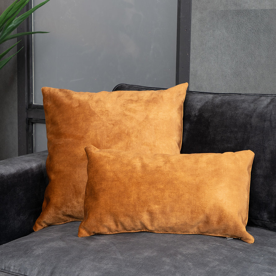 Sierkussen Beau velvet okergeel 45 x 45 cm
