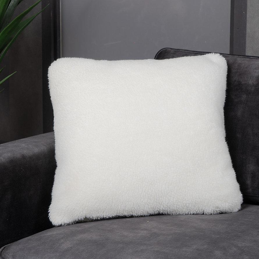 Sierkussen Tess teddystof wit 45 x 45 cm