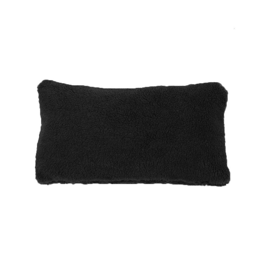 Sierkussen Tess teddystof zwart 25 x 45 cm