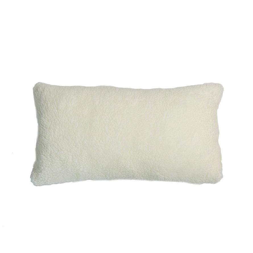 Sierkussen Tess teddystof wit 25 x 45 cm