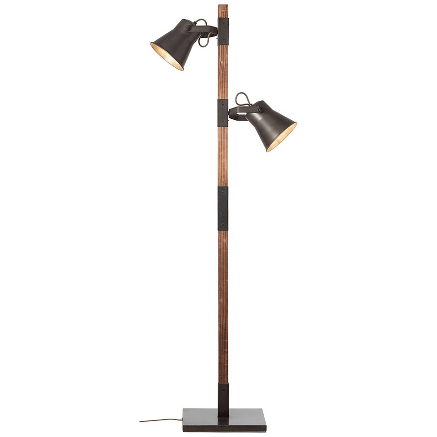 Industriële vloerlamp Lowen 2-lichts hout/metaal