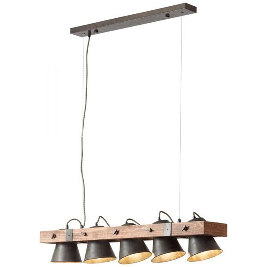 Industriële hanglamp Lowen 5-lichts hout/metaal
