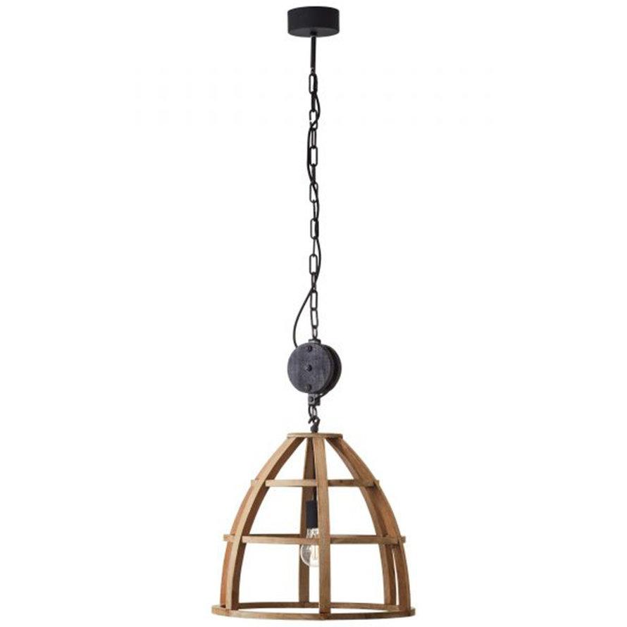 Industriële hanglamp Lea 1-lichts hout Ø47 cm