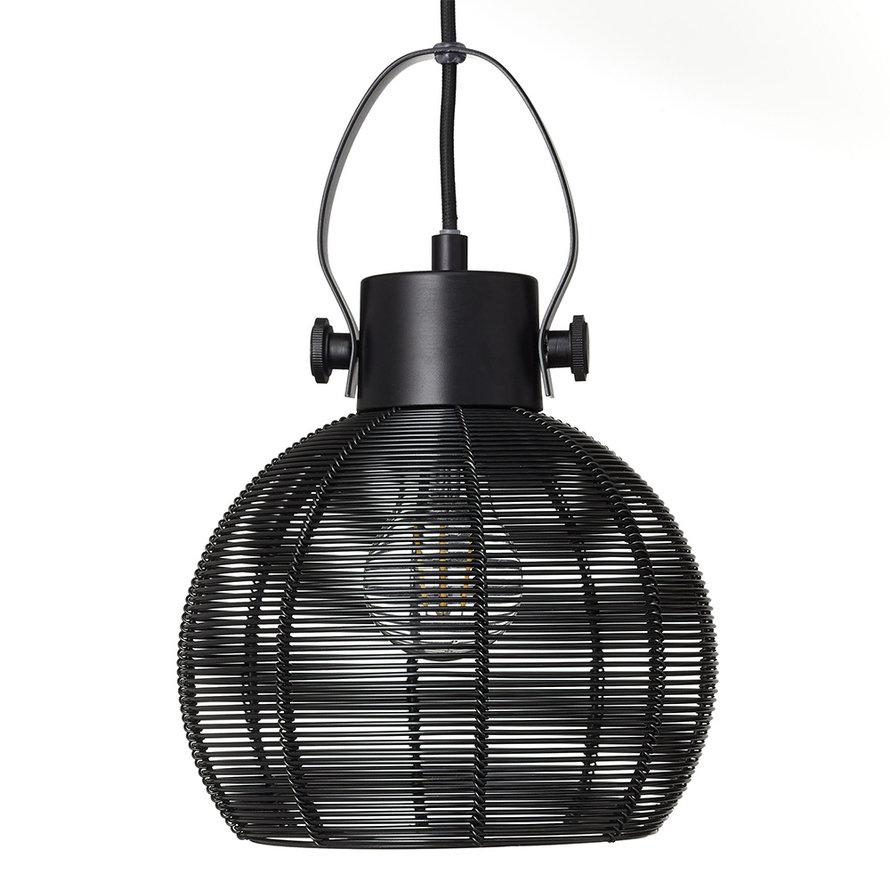 Hanglamp Yaiza 3-lichts zwart getrapt