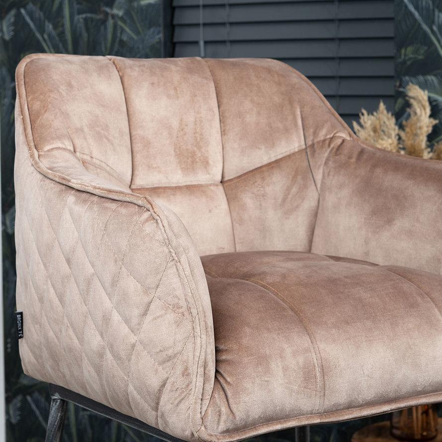 Velvet barkruk Jayron taupe 82 cm