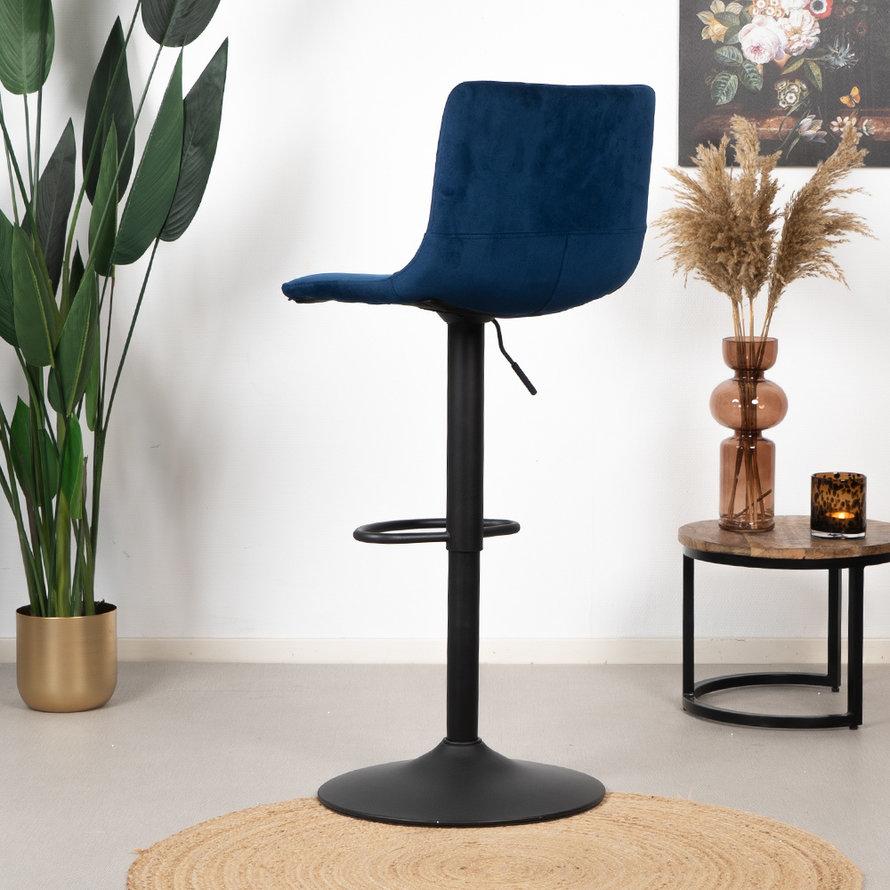 Velvet barkruk Frenkie blauw 59-76 cm