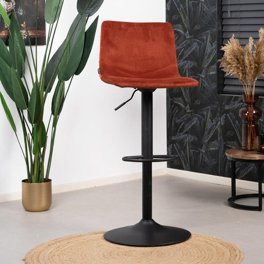 Velvet barkruk Frenkie koper 59-76 cm