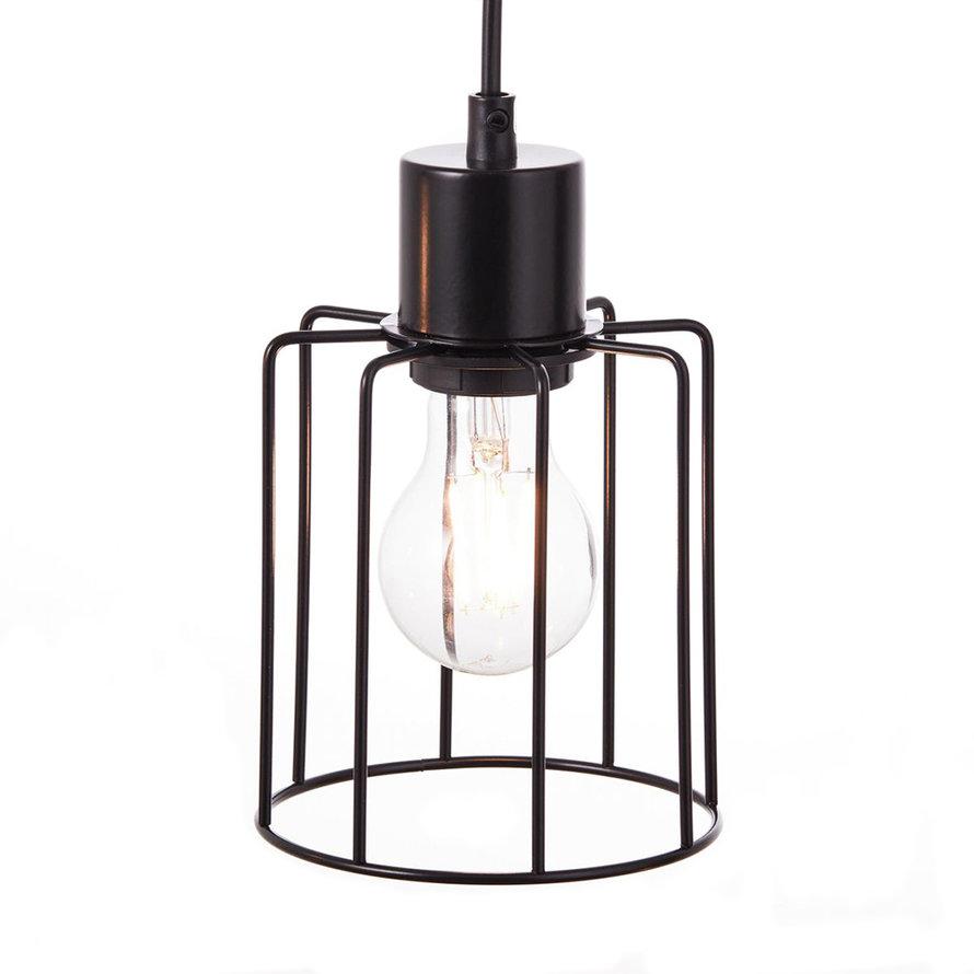 Industriële hanglamp Luz 4-lichts hout/metaal