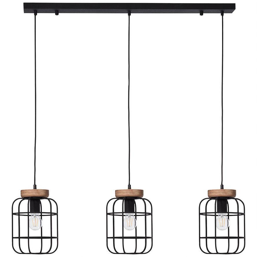 Industriële hanglamp Javi 3-lichts zwart metaal
