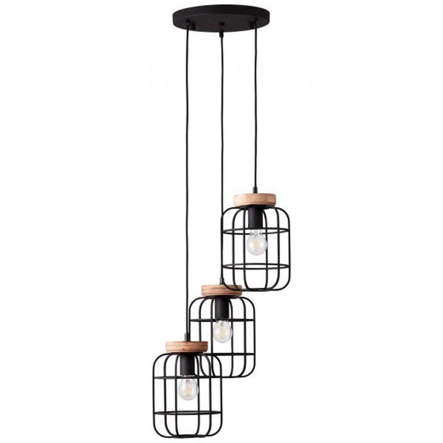 Industriële hanglamp Javi 3-lichts getrapt zwart