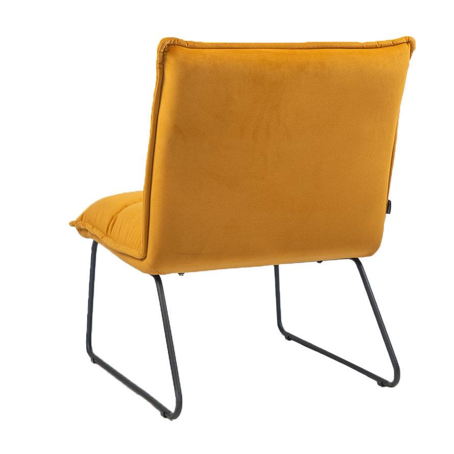 Velvet fauteuil Malaga okergeel