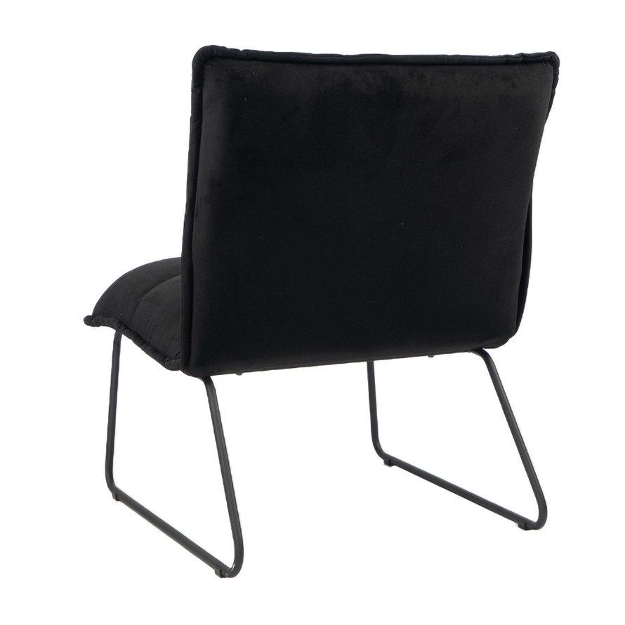 Velvet fauteuil Malaga zwart