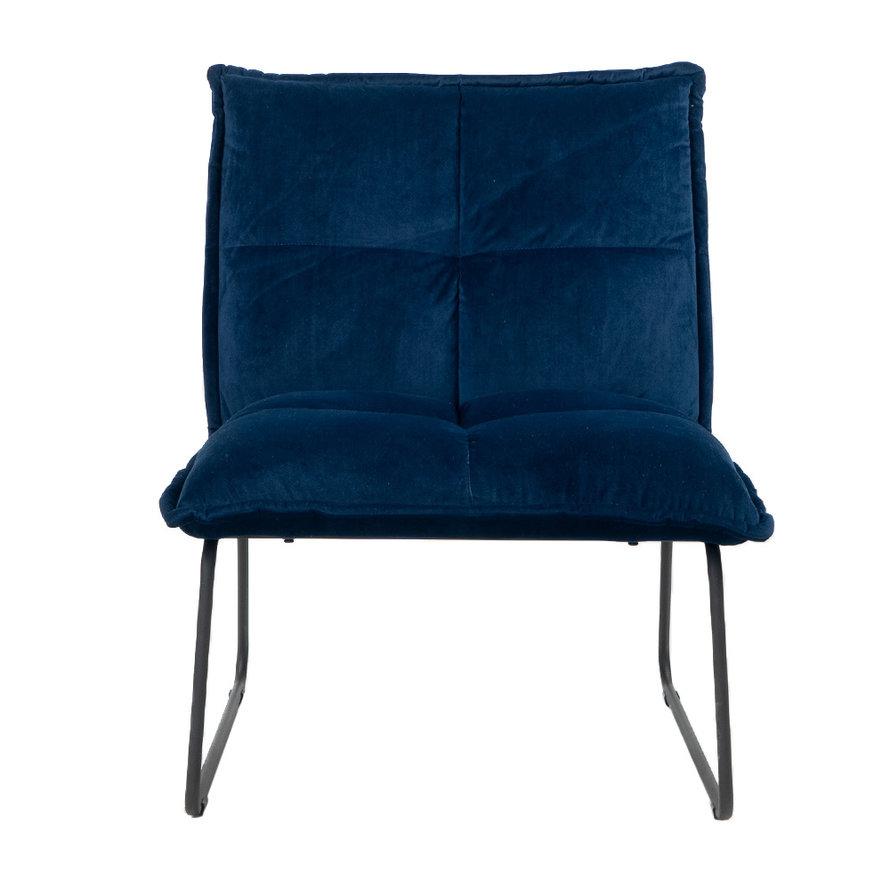Velvet fauteuil Malaga donkerblauw