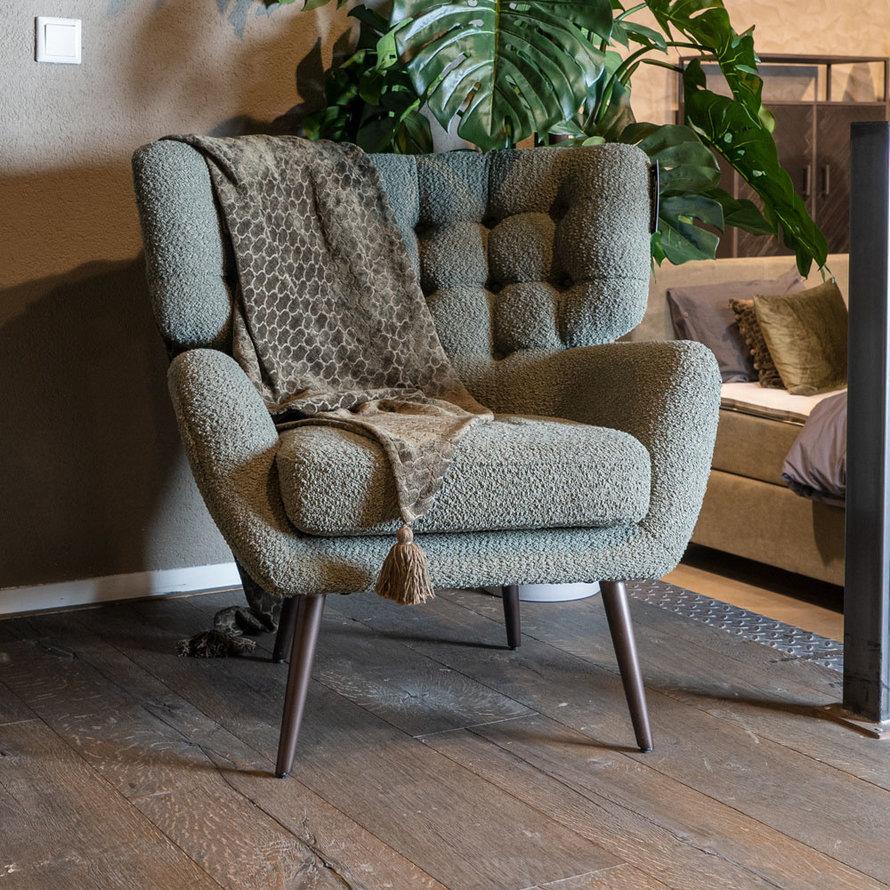 Bouclé fauteuil Niek groen