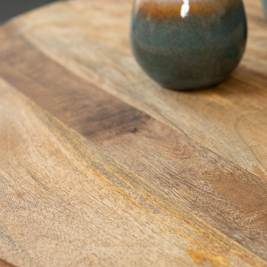 Salontafel industrieel Clover set van 2 mangohout metaal rond