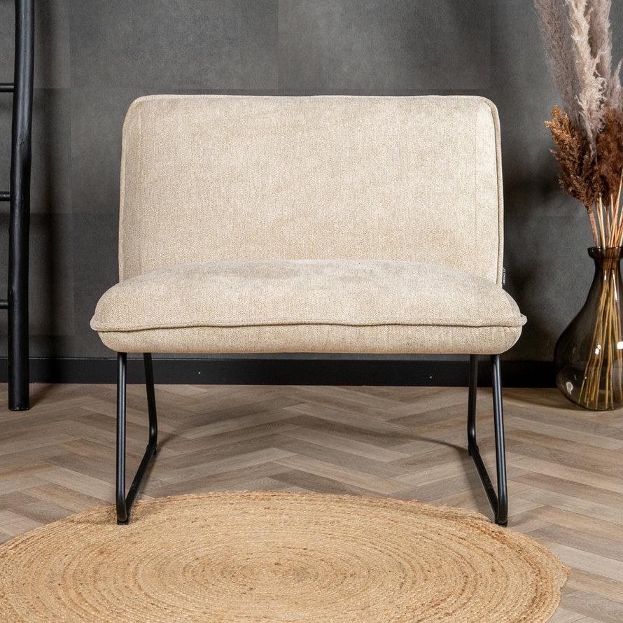 Scandinavische fauteuil Merle taupe/beige stof gemêleerd