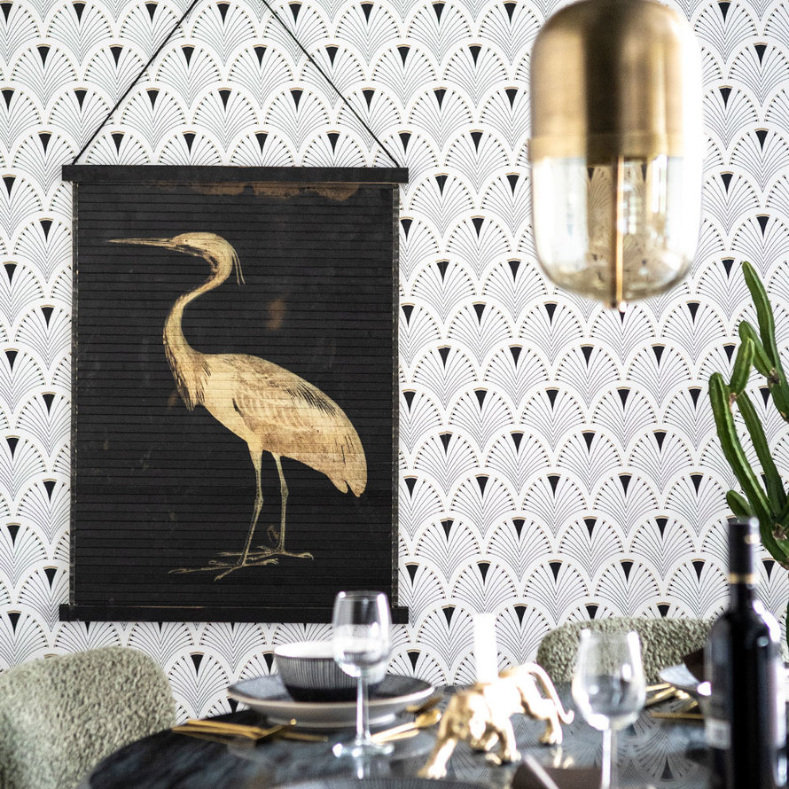 Wanddecoratie Mia bird bamboe zwart large