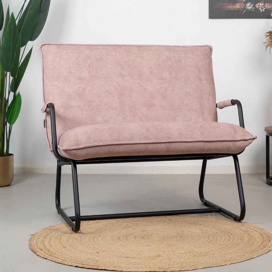 Velvet fauteuil Ohio roze