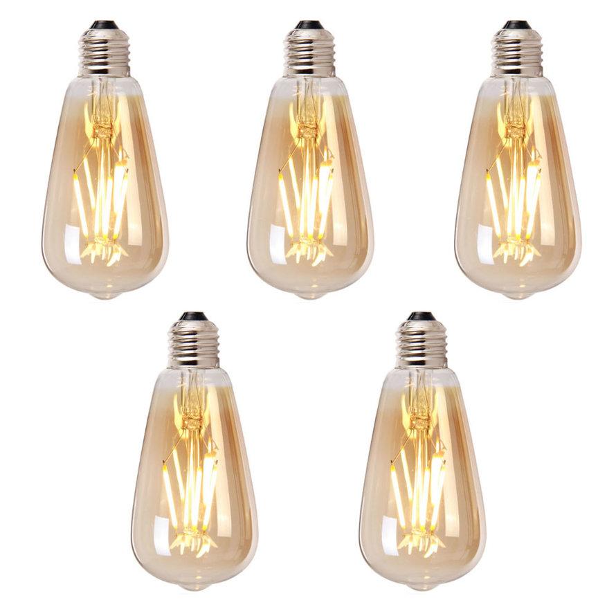 Lichtbron LED druppel 14,5 cm (set van 5) gold