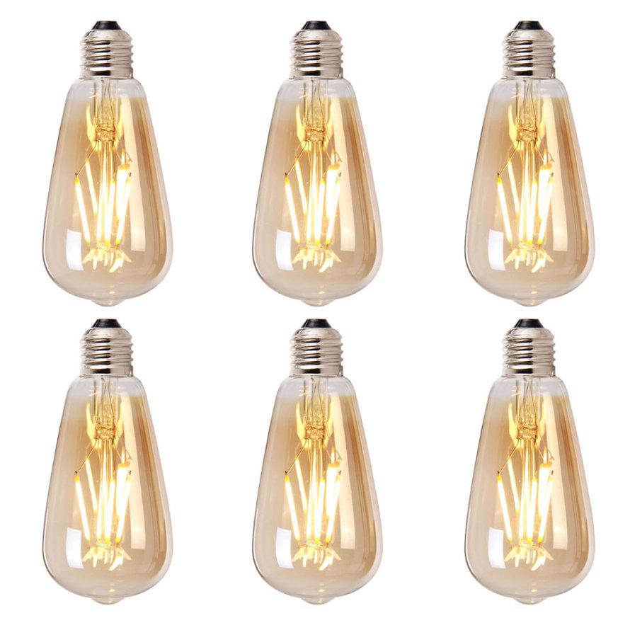 Lichtbron LED druppel 14,5 cm (set van 6) gold