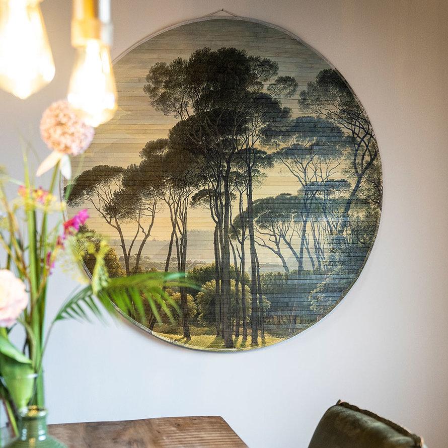 Wanddecoratie Rita jungle rond bamboe large