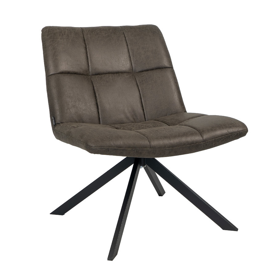 Industriële fauteuil Eevi antraciet eco-leer