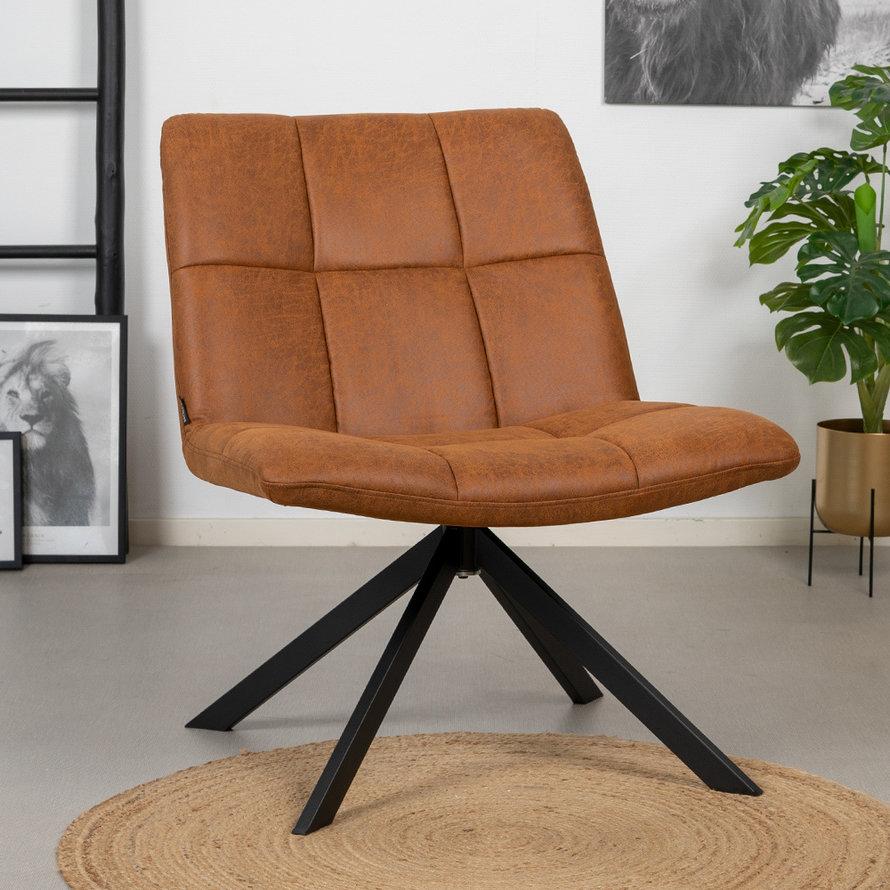 Industriële fauteuil Eevi cognac eco-leer