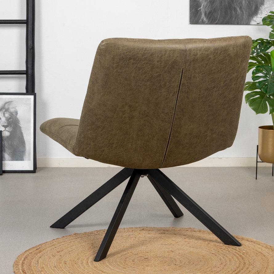 Industriële fauteuil Eevi olijfgroen eco-leer