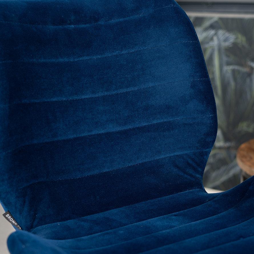 Velvet eetkamerstoel Toby donkerblauw
