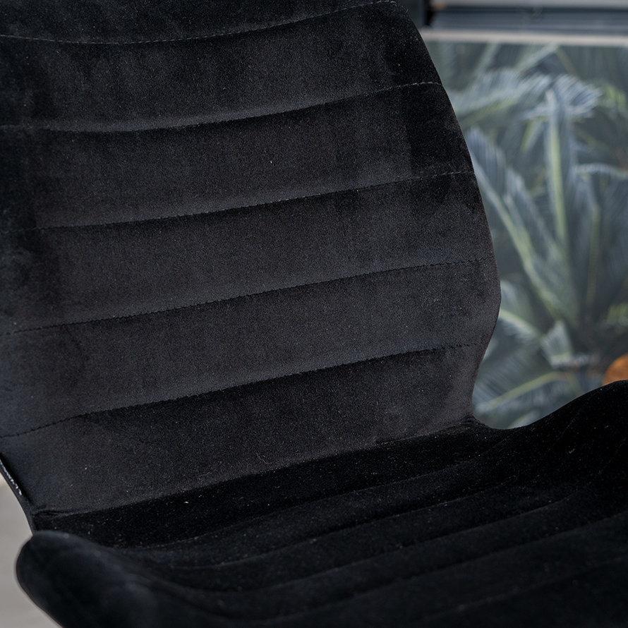 Velvet eetkamerstoel Toby zwart
