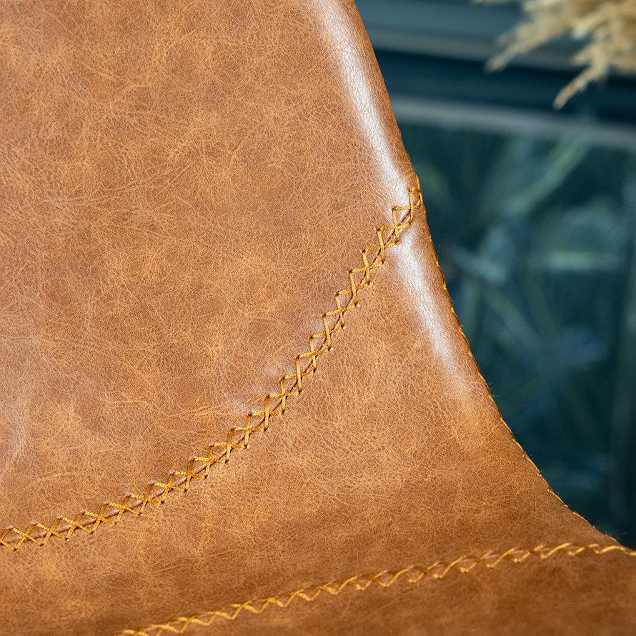 Industriële barkruk Luke cognac eco-leer 70 cm
