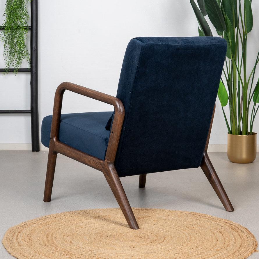 Velvet fauteuil Bibi donkerblauw