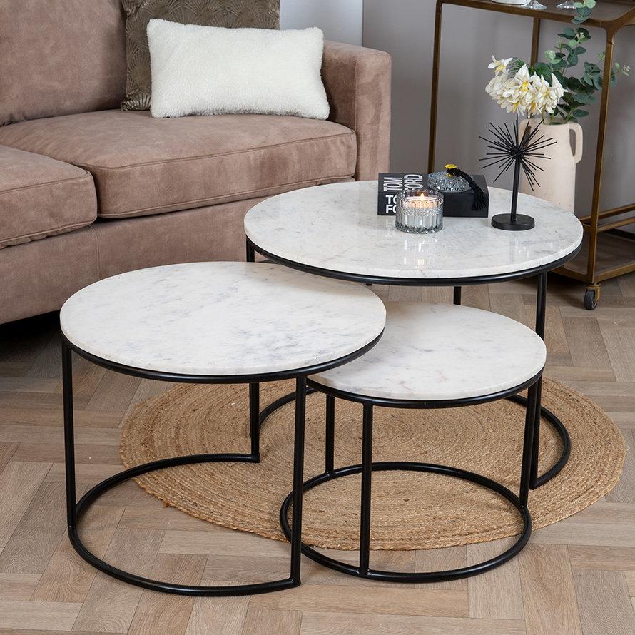 Marmeren salontafel set Bruce wit (3 stuks)