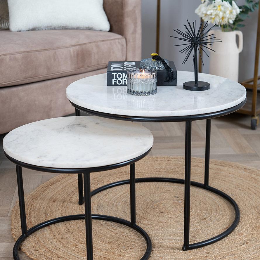 Marmeren salontafel set Mia wit (2 stuks)