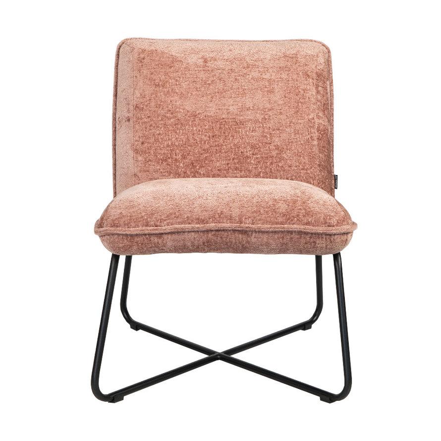 Scandinavische fauteuil Sophie chenille stof roze gemêleerd