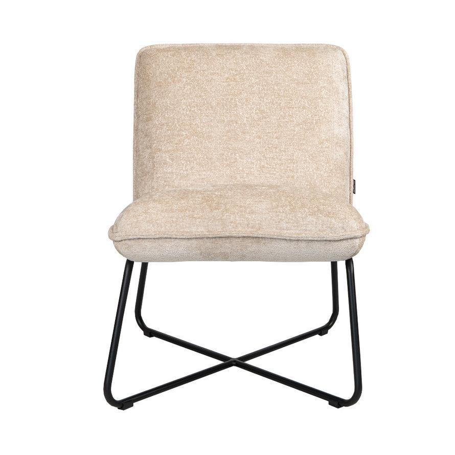 Scandinavische fauteuil Sophie chenille stof wit gemêleerd