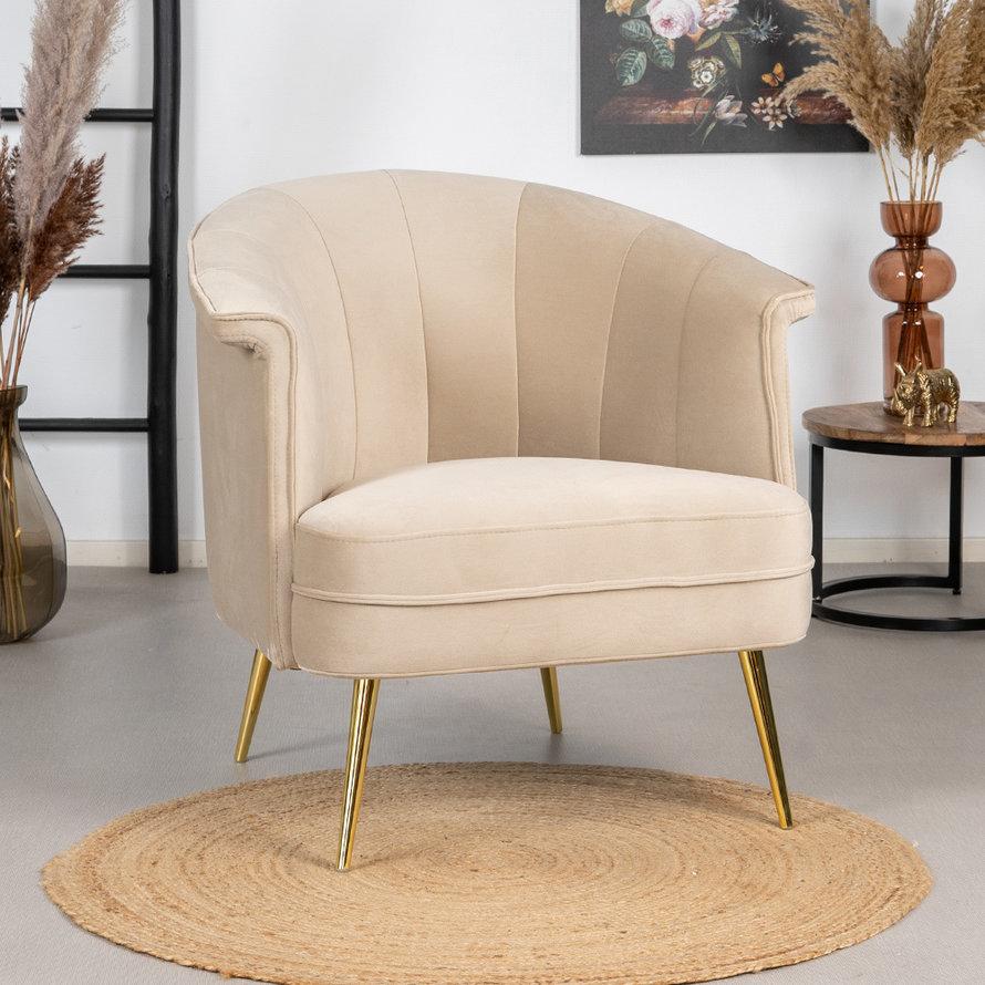 Velvet fauteuil Amy beige