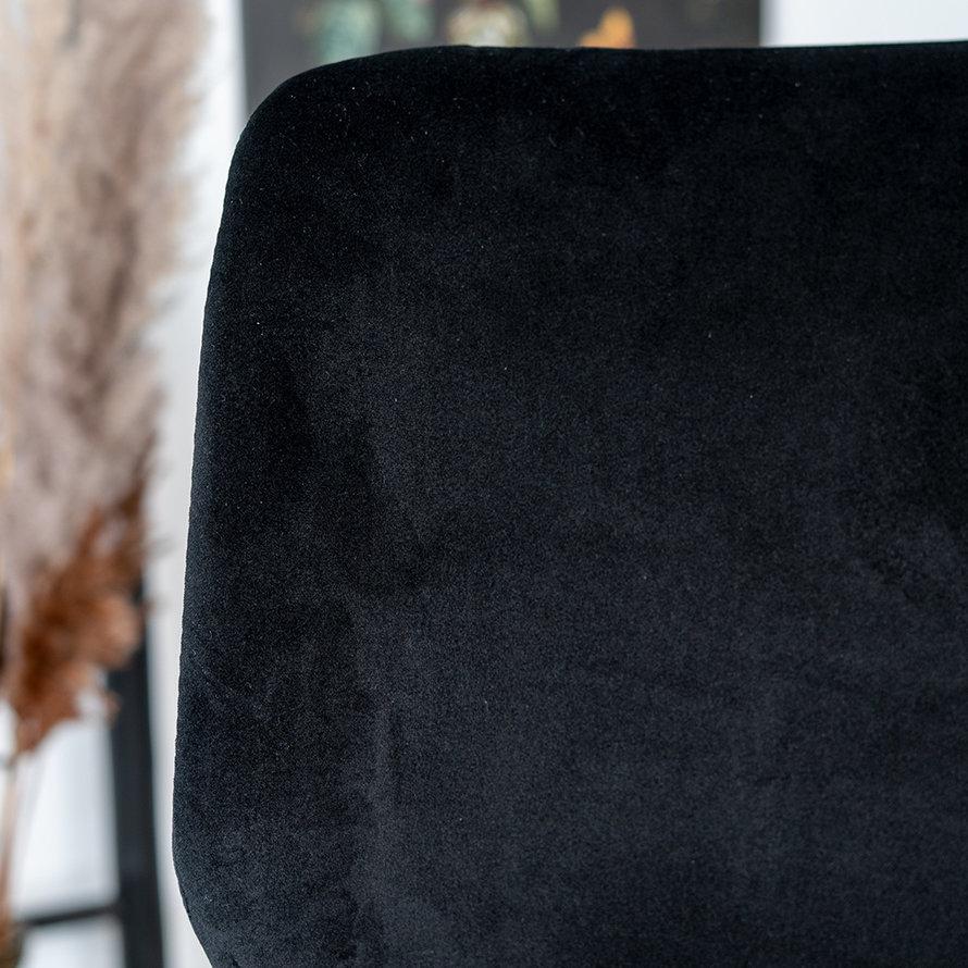 Velvet barkruk Miami zwart