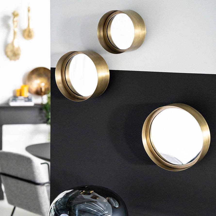 Ronde spiegels Macy brons set van 3