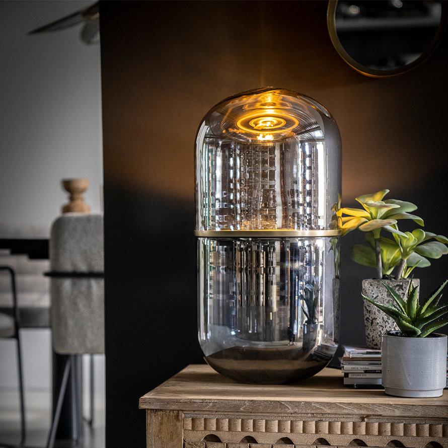 Tafellamp Royce chroom glas 62 cm
