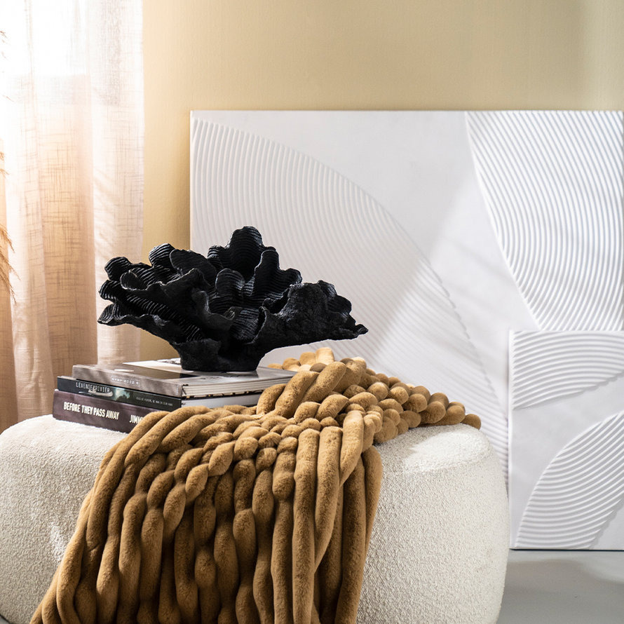 Wanddecoratie Flare wit vierkant MDF 90x90cm