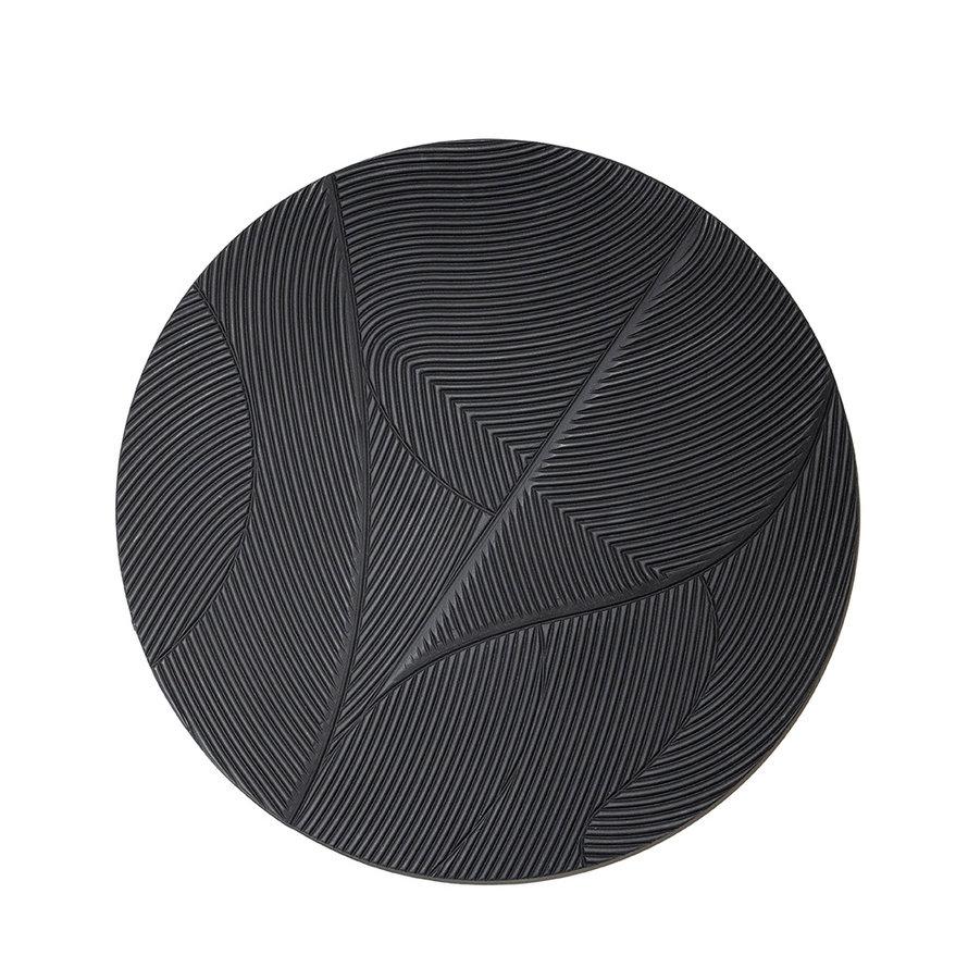 Wanddecoratie Flare zwart rond MDF 90cm