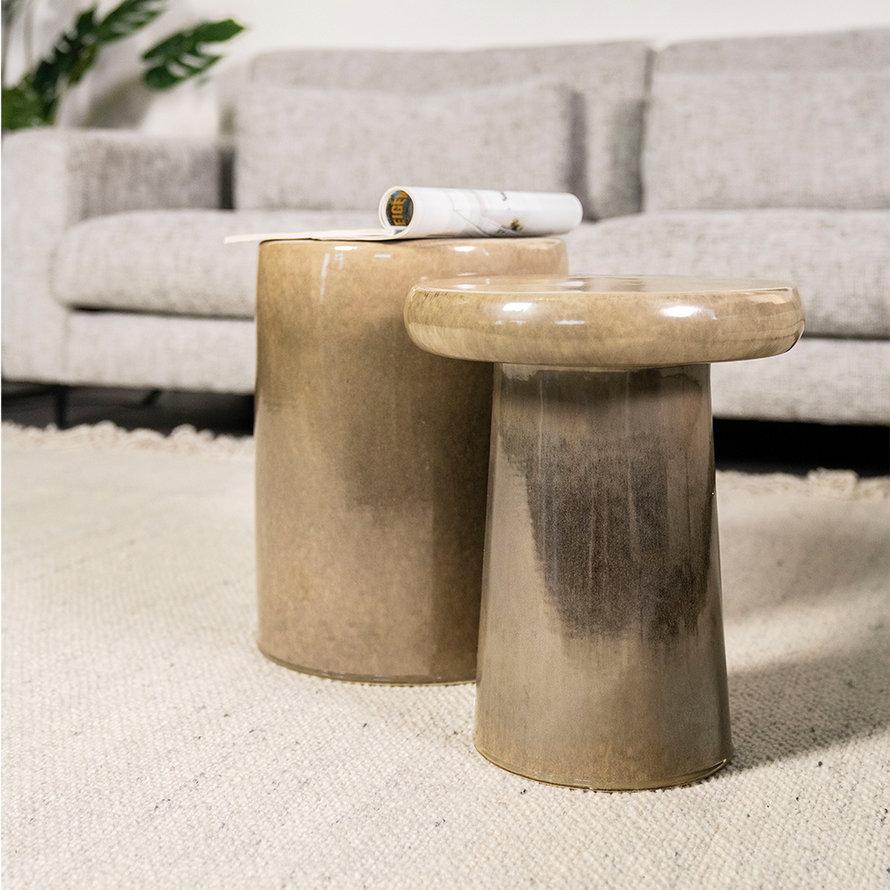 Design bijzettafel Mush keramiek taupe