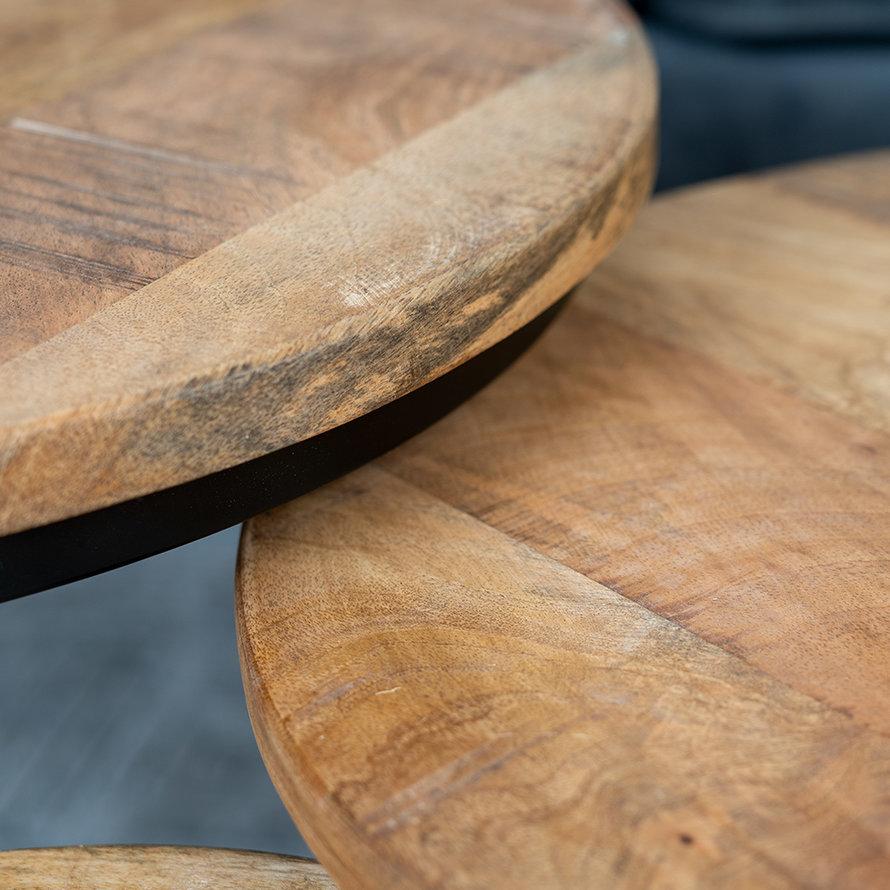 Industriële salontafel set Marieke mangohout (3 stuks)