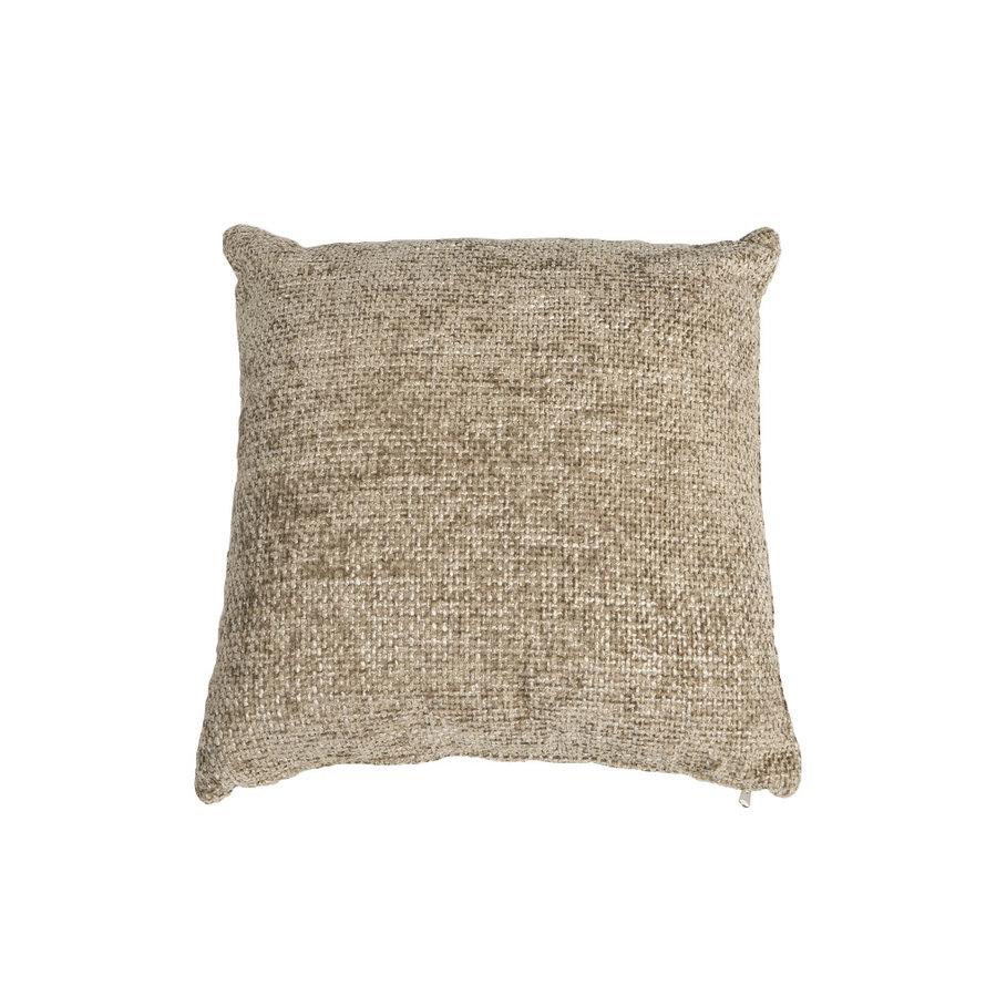 Sierkussen Feline chenille stof taupe 45 x 45 cm