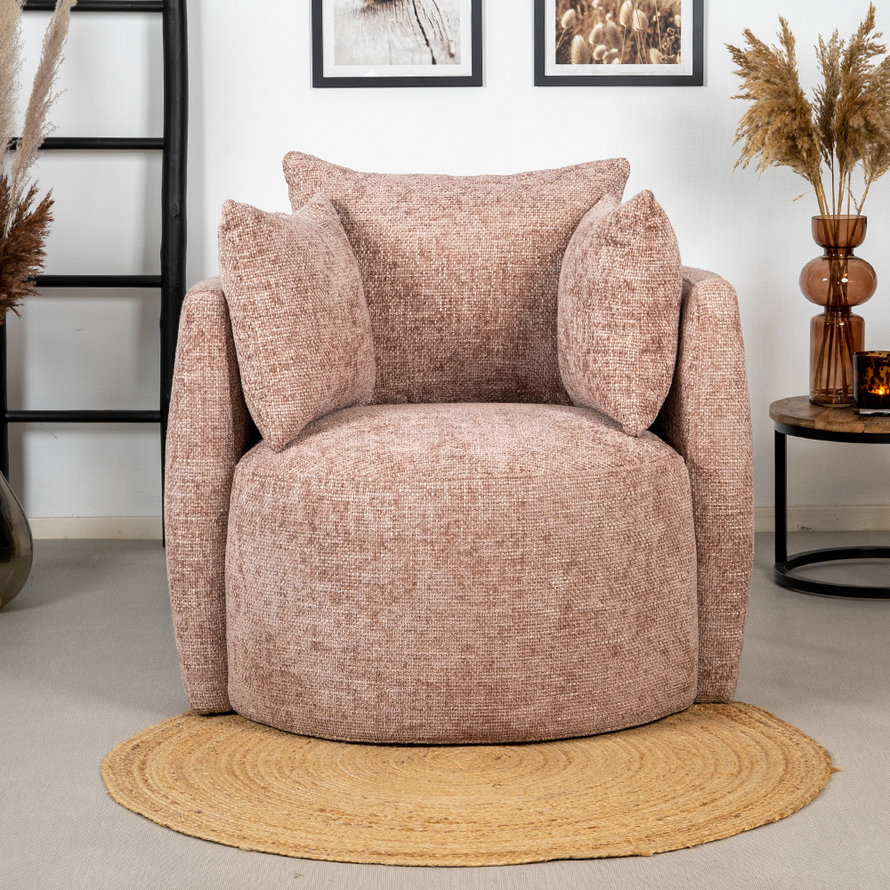 Fauteuil Ruby chenille stof roze